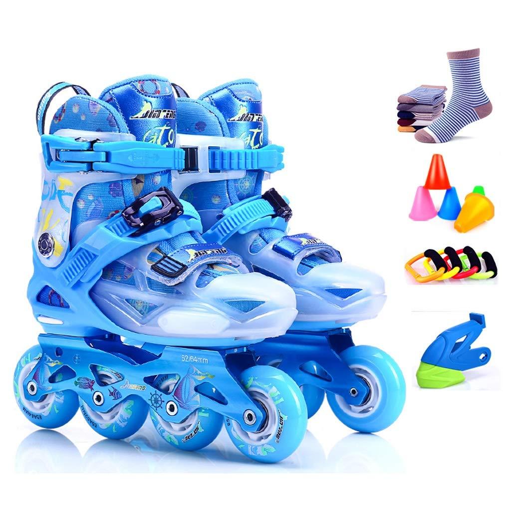 ZHANGHAIMING インラインスケートキッズティーン、屋外調整可能な初心者ローラーブレード、幼児用ライトアップホイールジュニアスポーツインラインローラースケート、ブルーピンク (Color : 青, Size : M (EU 32-35)) 青 M (EU 32-35)
