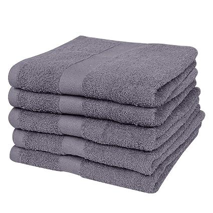 vidaXL 10 Toallas de algodón Gris Antracita baño peluquería 30x50cm 500gr/m²: Amazon.es: Hogar