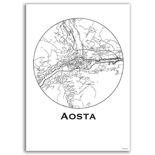 Cartel Aosta Italy Minimalista Mapa - City Map, decoración ...