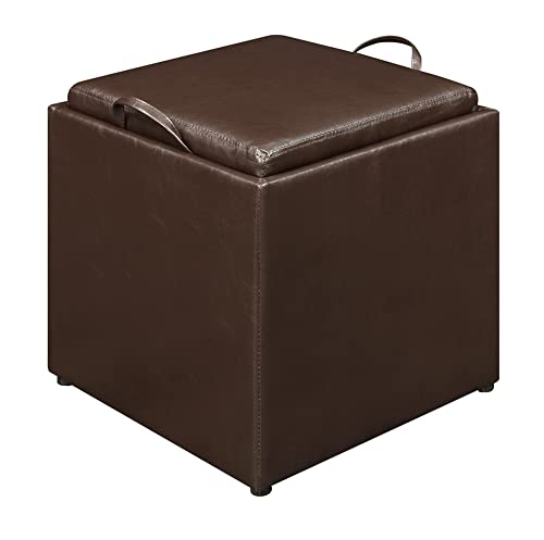 Convenience Concepts Designs4Comfort Park Avenue Single Ottoman with Stool, Dark Espresso