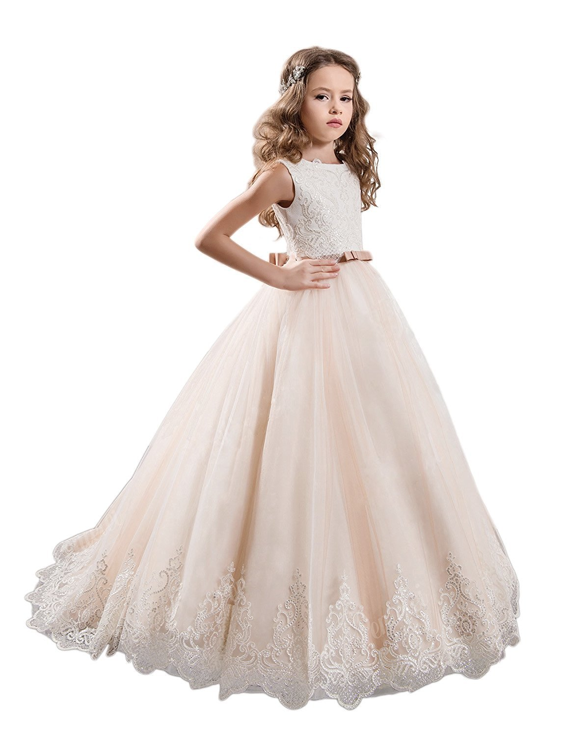 KissAngel Ivory Long Lace Flower Girl Dresses Champagne Less Party Dress (2, Ivory &Champagne) by KissAngel (Image #1)