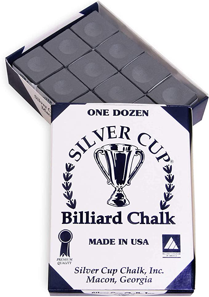 12 Pieces//BOX of RED Genuine SILVER CUP Pool Cue Tip Chalks