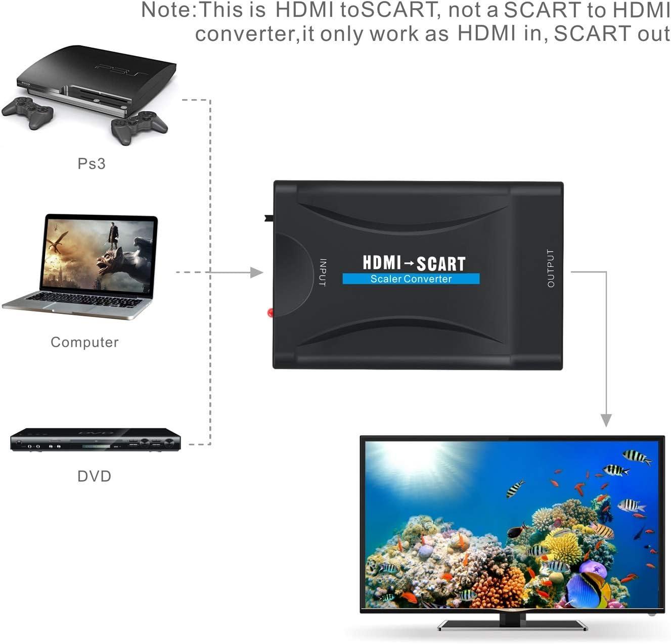 GANA HDMI a Scart, HDMI a Euroconector Conversor HDMI to Scart Convertidor de Video Audio Adaptador de señal para PS3 Sky DVD Recorder etc: Amazon.es: Electrónica