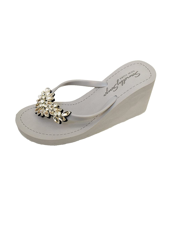 Sand by Saya Crystal Manhattan Comfortable Rubber Sandals with Thong Stripe – High Heels B06XWFJ4WM 10 XL|Gray