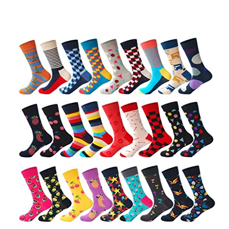 27Colors Striped Plaid Diamond Cherry Socks Men Combed Cotton Calcetines Largos 1 at Amazon Mens Clothing store: