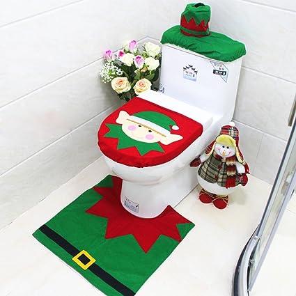 Copri Wc Babbo Natale.Set Wc Natale Copriwater Copri Serbatoio Tappettino Tema Babbo