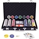 Display4top 300 Piece Texas Holdem Poker Chips Set with Aluminum Case,2 Decks of Cards, Dealer, Small Blind, Big Blind Buttons and 5 Dice (300 Piece Chips)
