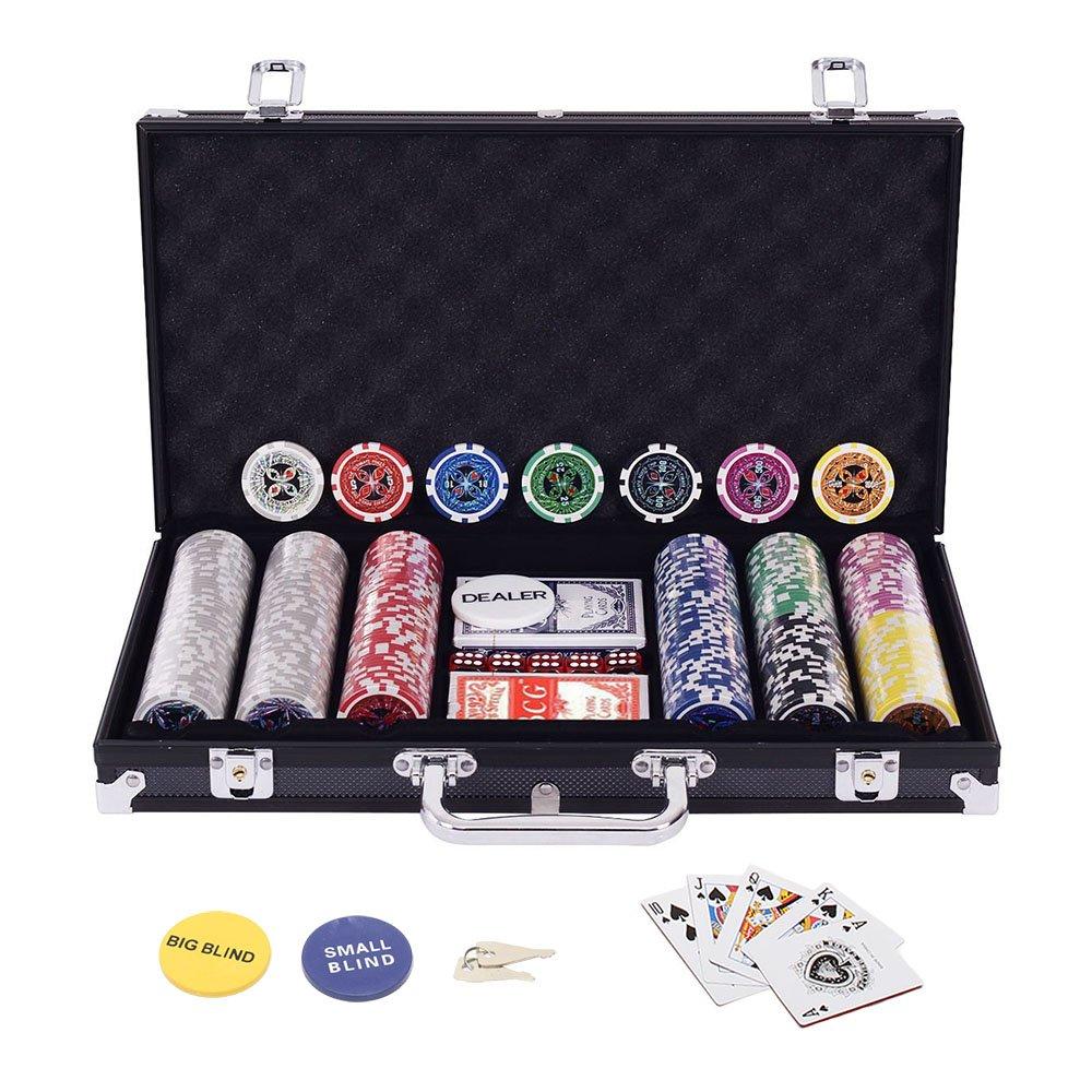 Display4top Pokerkoffer 300 Chips Laser Pokerchips Poker 12 Gramm, 2 Karten, Händler, Small Blind, Big Blind Tasten und 5 Würfel, Schwarz mit Aluminium-Gehäuse Händler