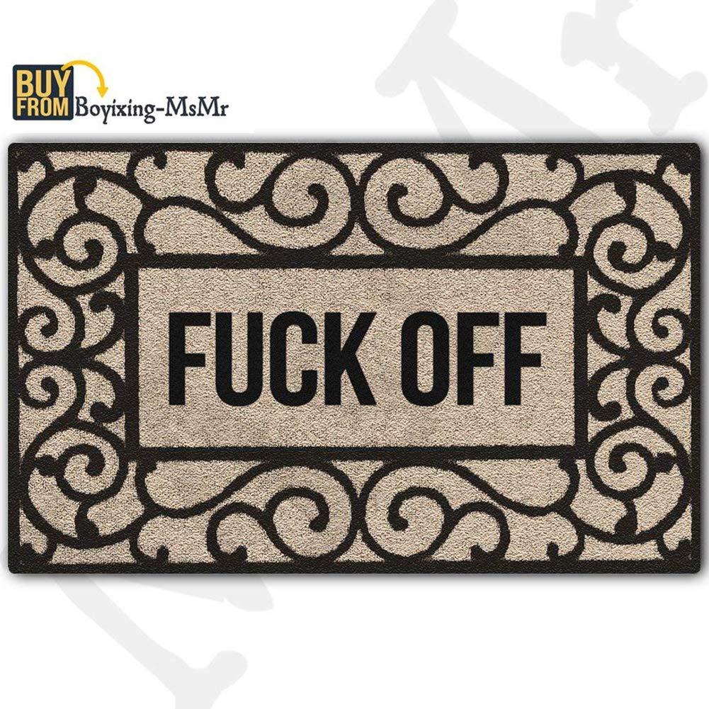 """amazon com msmr doormat entrance floor mat rectangular fuck offamazon com msmr doormat entrance floor mat rectangular fuck off funny doormat indoor outdoor decorative door mat non woven fabric top 18\""""x30\"""" garden \u0026"""
