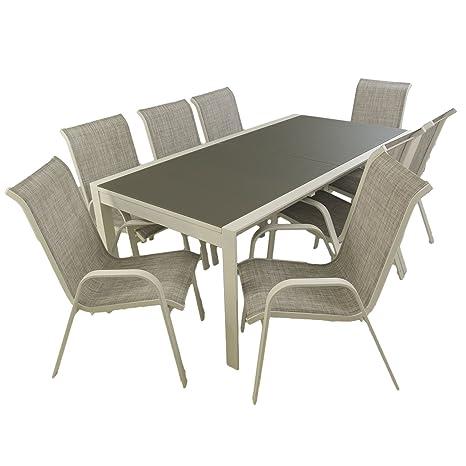 Edenjardi Conjunto mobiliario de Exterior, Mesa Extensible 200/300 y 8 sillones apilables, Aluminio Blanco, Textilene taupé Jaspeado, Cristal Templado