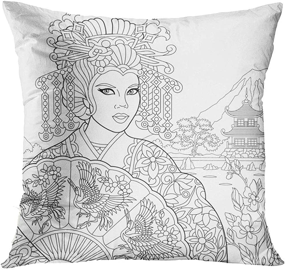 Pretty Bb Rest Cushion Coloring Page Of Geisha Japanese Dancing Actress Holding Fan With Crane Birds Freehand Sketch Drawing Art Pillow Kitchen Dining