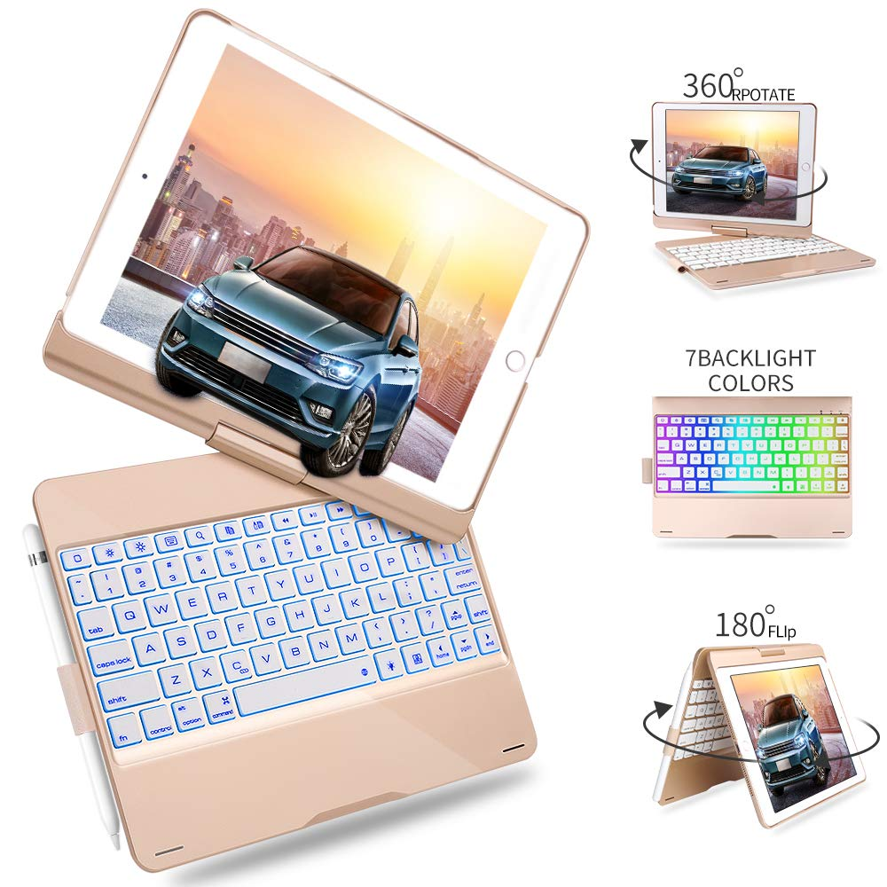 Rose Gold Keyboard Case for iPad 9.7 2018 2017-iPad Pro 9.7-iPad Air 2 /& 1-Boriyuan 7 Color Backlit Bluetooth Keyboard Case Folio Smart Cover Pencil Holder for iPad 9.7 Case 360 Rotatable