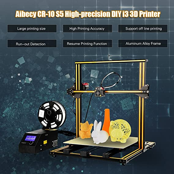 Amazon.com: Aibecy 3D Printer, CR-10 S5 High-Precision Self-Assemble DIY i3 3D Printer Easy to Assemble Filament Run-Out Detection Resume Printing Function ...