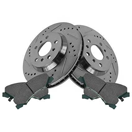 Front Premium Posi Ceramic Brake Pad Performance Drilled Slotted Rotor Kit