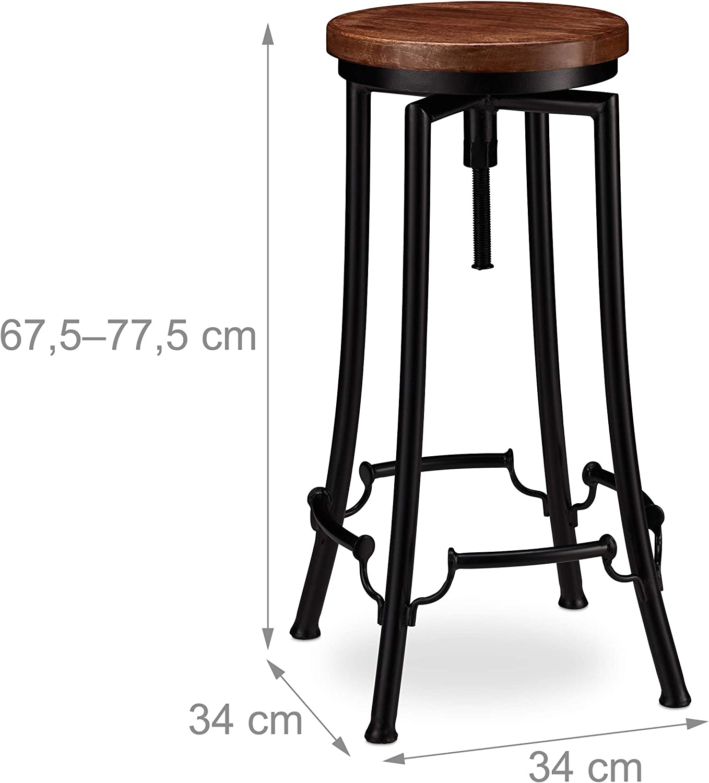 67,5 x 34 x 34 cm Relaxdays Barhocker Industrial schwarz//braun hoher Vintage Hocker Eisen Holz h/öhenverstellbar bis 77,5 cm Tresenhocker drehbar