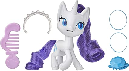 Amazon Com My Little Pony Rarity Potion Pony Figure 3 Inch White Pony Toy With Brushable Hair Comb And 4 Surprise Accessories Toys Games