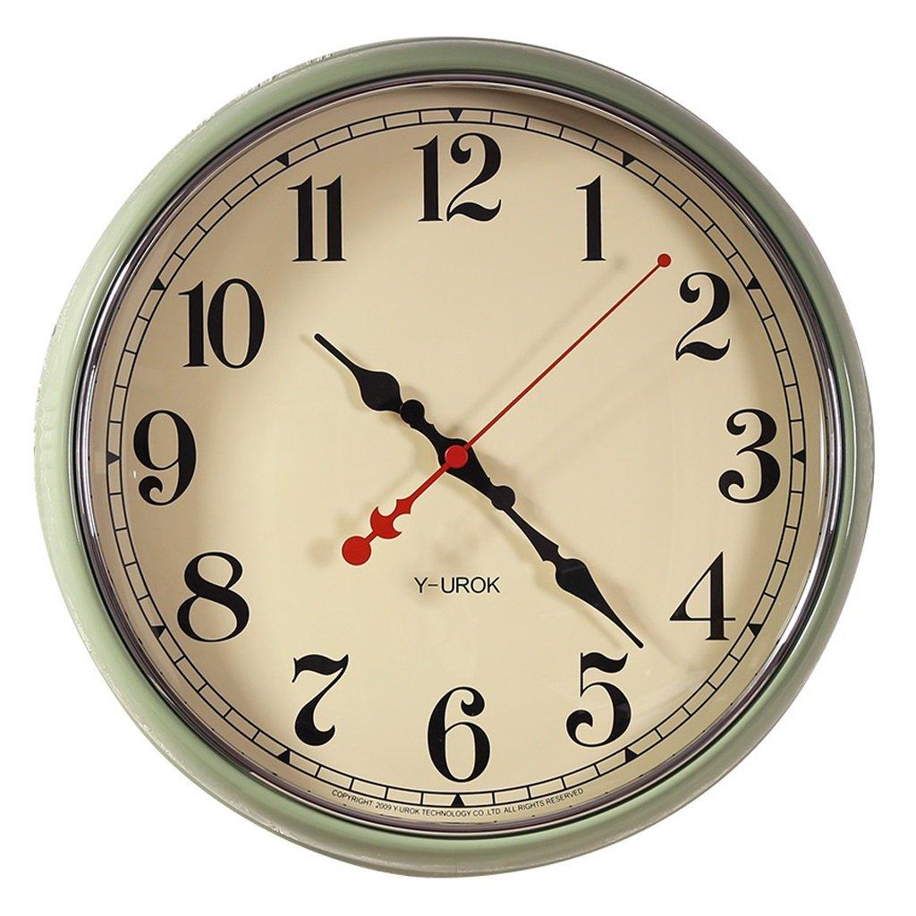 掛け時計 16インチアメリカンリビングルームホームラウンドウォールクロックモダニズムクリエイティブクロックベッドルームノルディックサイレントクォーツウォールクロック B07DRM2LQW