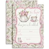"""Watercolor Tea Party Birthday Party Invitations for Girls, 20 5""""x7"""" Fill in Cards with Twenty White Envelopes by AmandaCreation."""