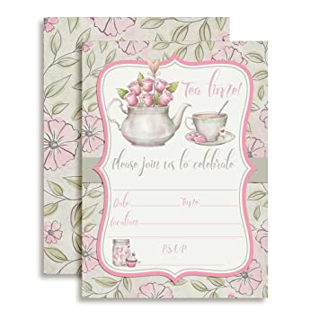 amazon watercolour tea party birthday party invitations for girls