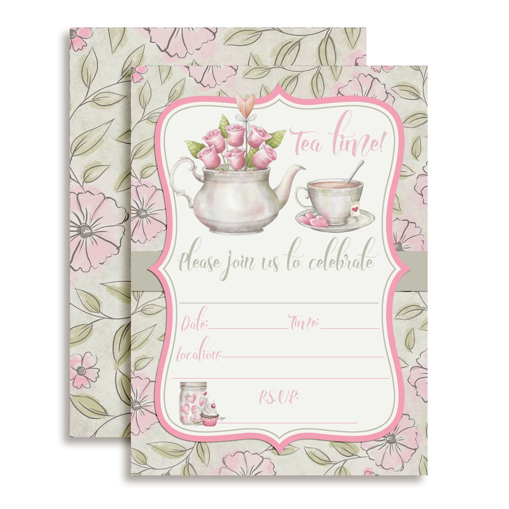 Watercolor Tea Party Birthday Party Invitations for Girls, 20 5''x7'' Fill in Cards with Twenty White Envelopes by AmandaCreation.