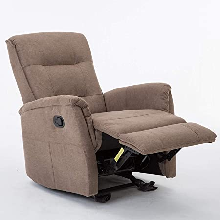 Meor Recliner Chair, Fabric Rocker Recliner Chair Brown Glider Recliner Reclining Single Sofa for Living Room