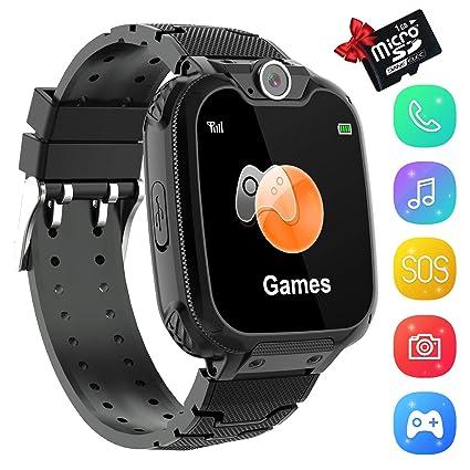Smartwatch Phone Niños, Niños Reloj Inteligente con Reproductor de Música, Reloj Inteligente para Niños Hacer Llamadas, SOS Cámara Reloj Despertador ...