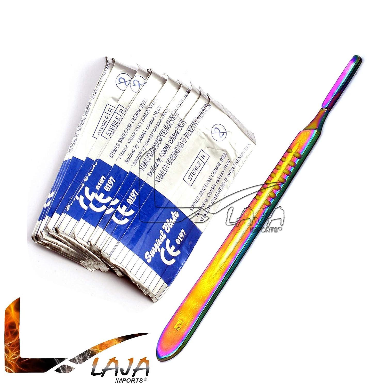 20 Sterile Blade # 24 Dental Instruments LAJA Imports Multi Color Scalpel Handle #4