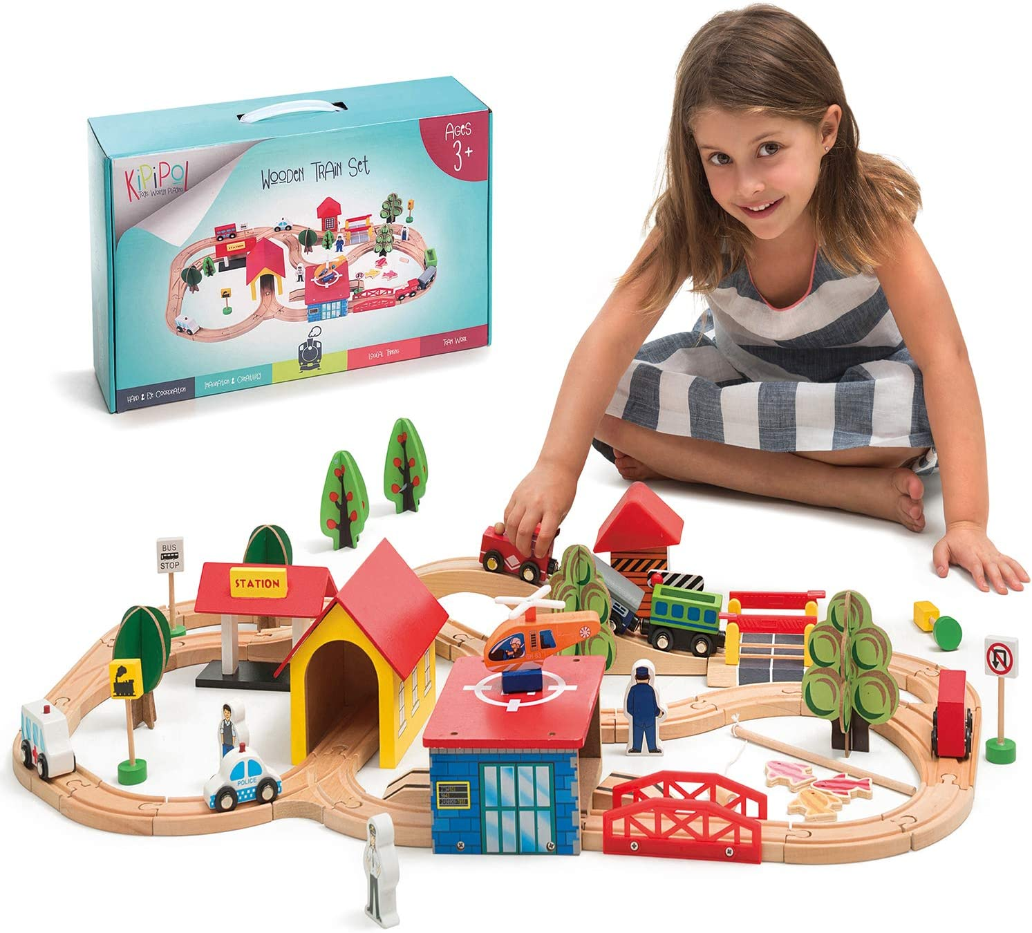 Kipipol Wooden Train Tracks Set for Kids, Toddler Boys and Girls 3, 4, 5 Years Old and Up - 69 Pieces – Premium Wood Construction Toys - Fits Thomas, Brio, IKEA, Imaginarium, Melissa and Doug