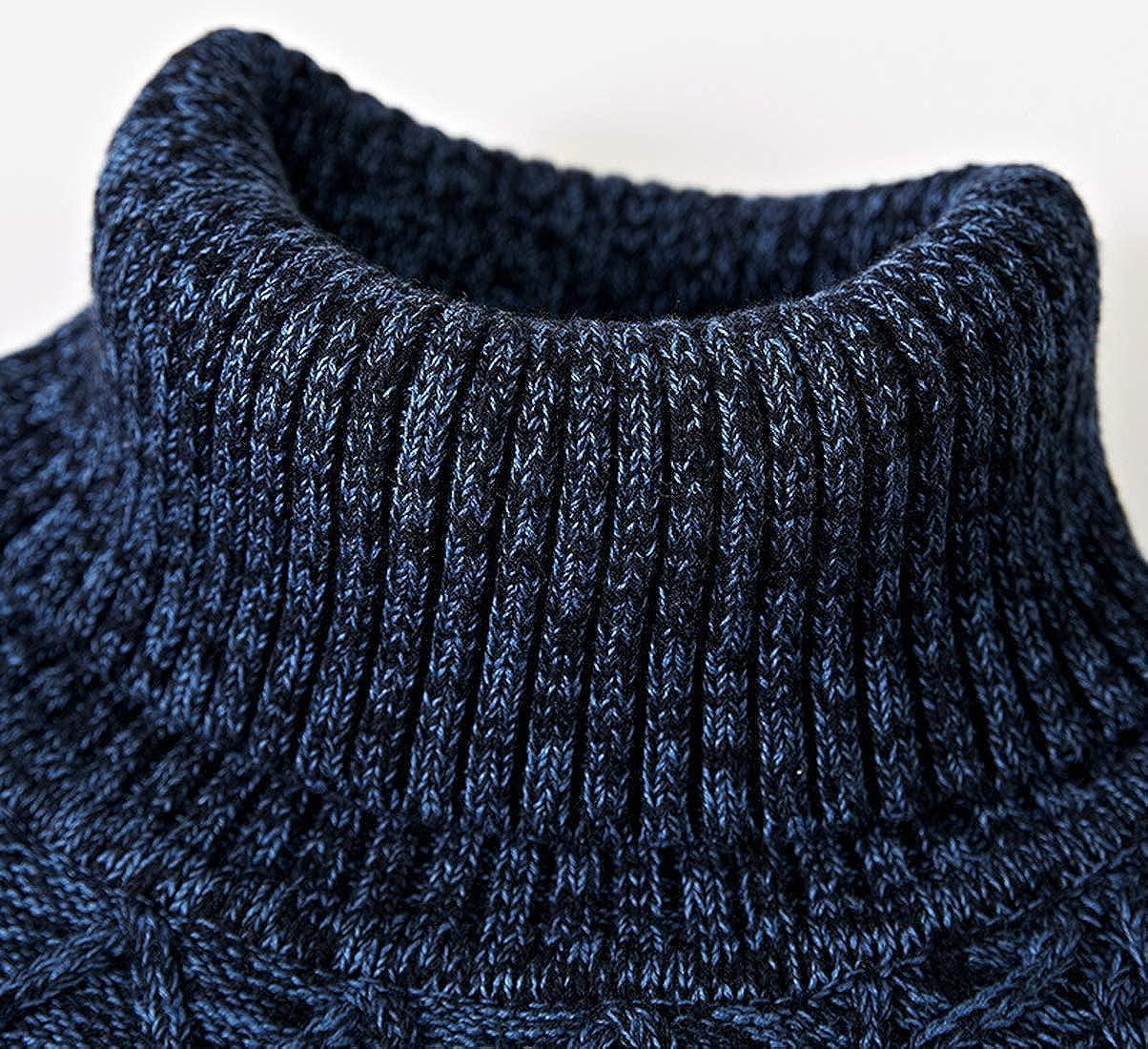 chouyatou Mens Variegated Turtleneck Diamond-Knit Pullover Sweater Knitwear