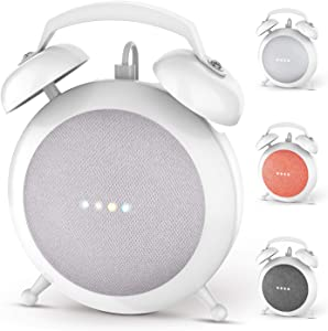 Google Home Mini Stand Holder, Retro Alarm Clock Stand Mount Base Protective Case Compatible with Google Home Mini (White)
