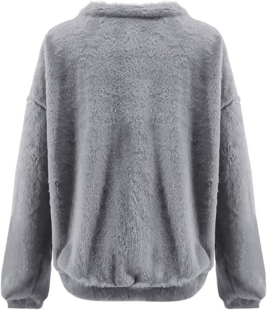 GOWOM Fashion Women Winter Long Sleeve Solid O Neck Top Blouse Sweatershirt