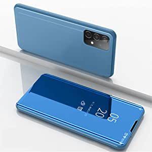 For Samsung Galaxy A52 Clear View Stand Mirro Case Flip Phone Cover Not Smart - Blue