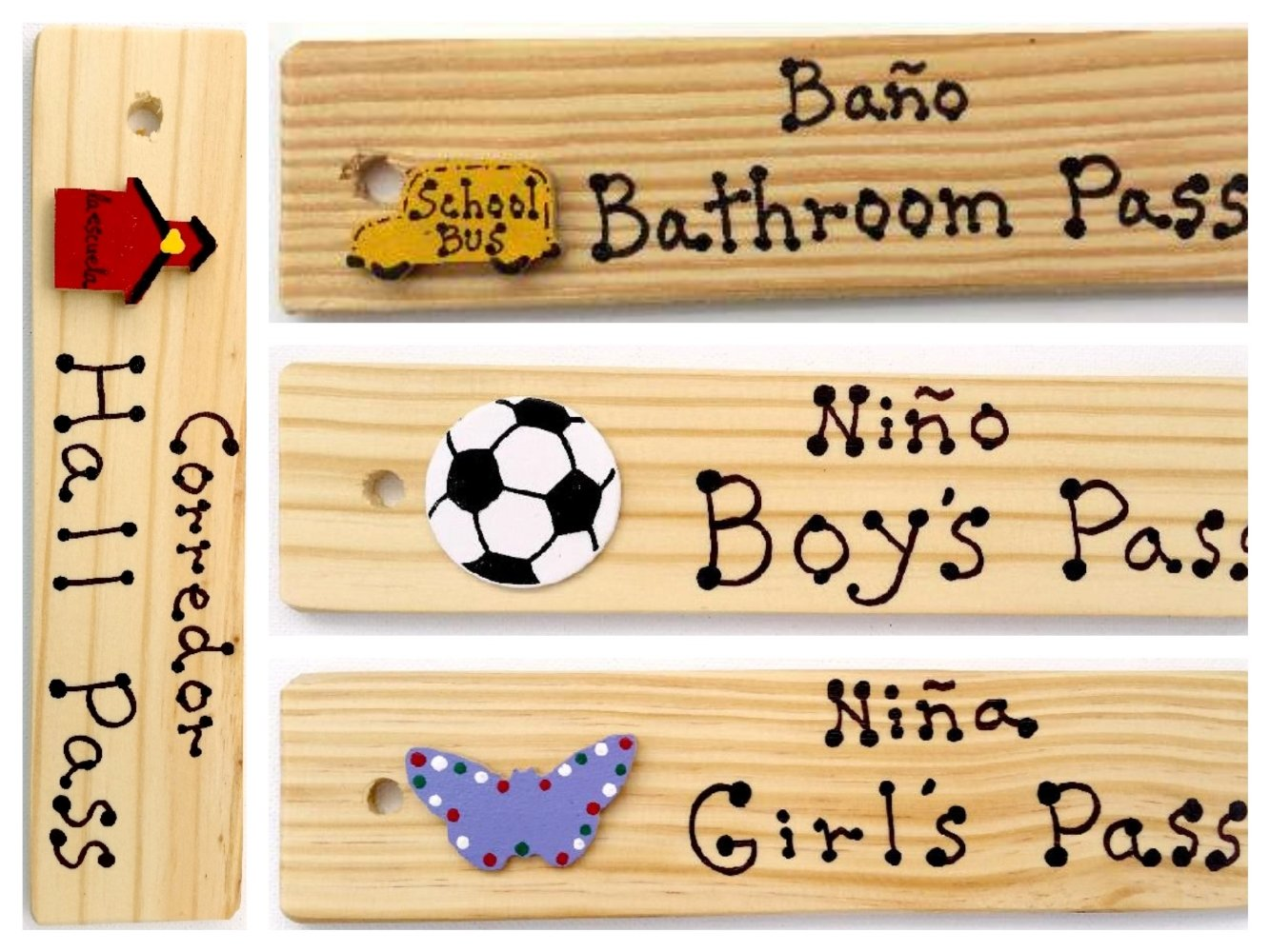 Bilingual Passes - AA-911 ESSET4 Set of 4(Hall, Bathroom, Boy's & Girl's) Made in USA - 8''x2'' Wooden Pass w/Hang Loop. by AppleABC Teachers Gifts