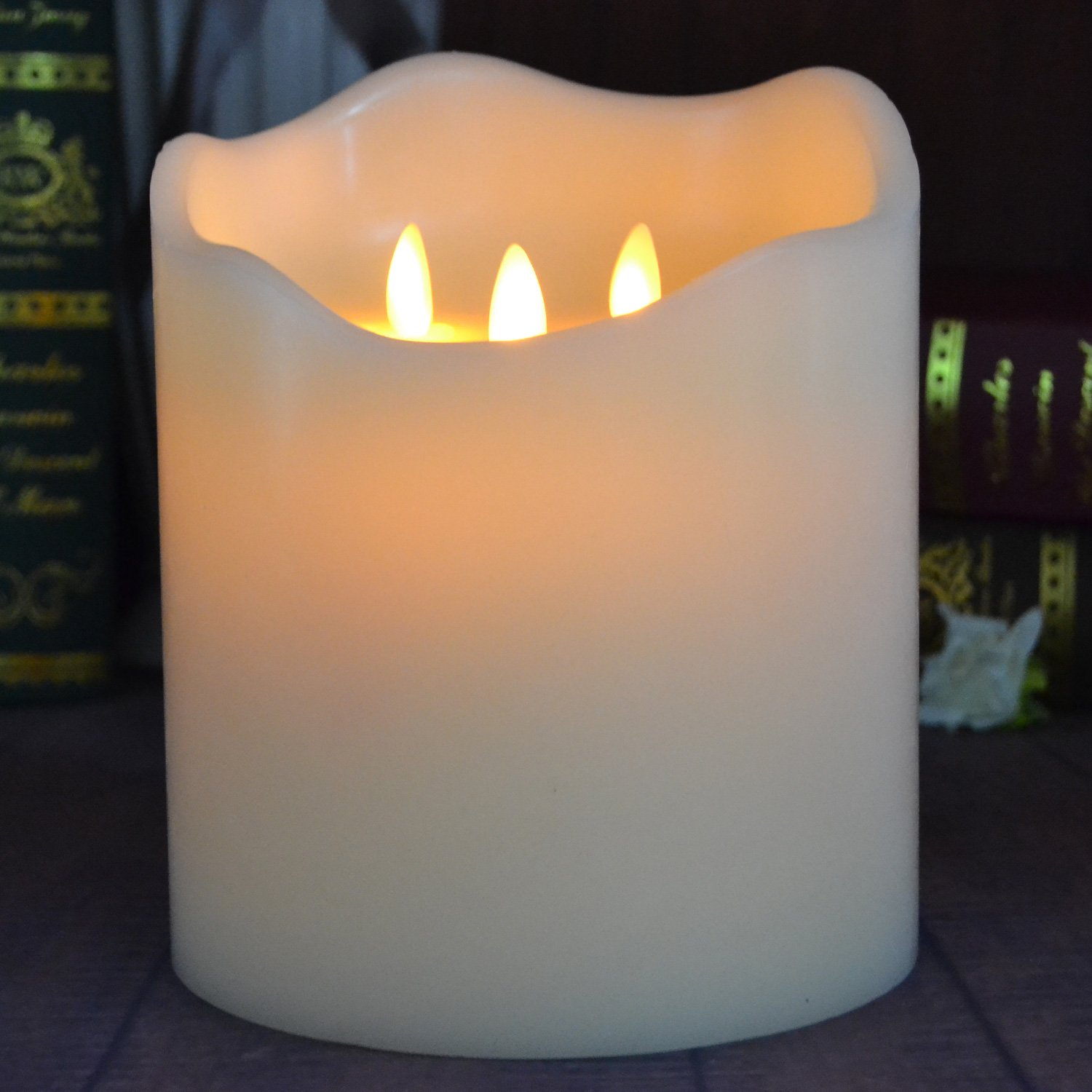 TELOSMA 3-Moving Wicks Flameless Huge Candle with Remote Control in Ivory 6 inch