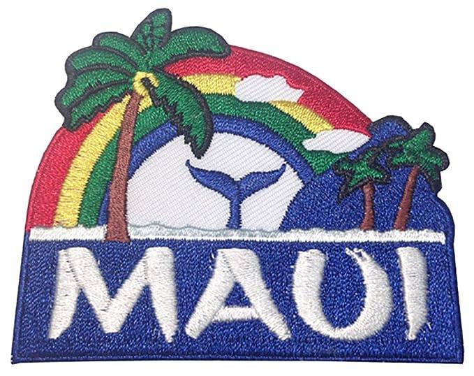 Amazon Hawaii Maui Palm Tree Rainbow Whale Iron On Embroidery