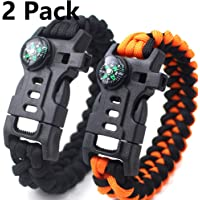 2 Pack Brazalete Táctico Supervivencia 100% Nylon Material 9 Inch Survival Gear Kit Embedded Compass, Fire Starter, Emergency Knife & Whistle(PC 1 Naranja con PC 1 Negro)