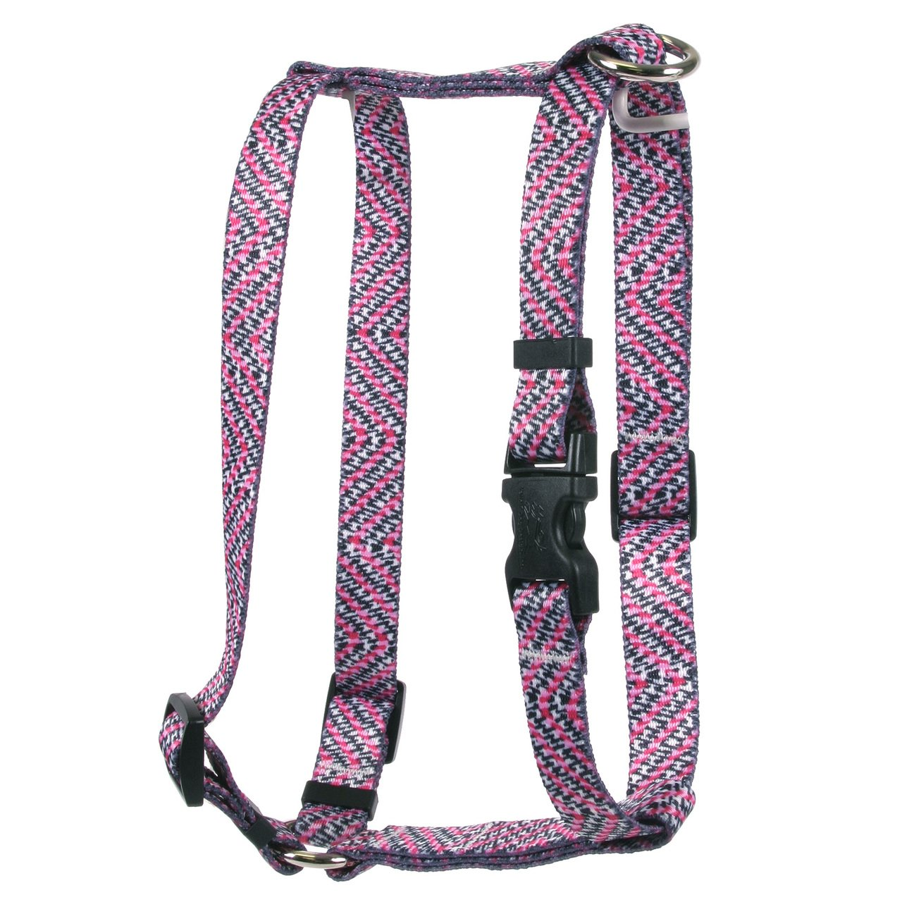 Yellow Dog Design Pink Tweed Roman Style H Dog Harness, X-Large-1'' Wide and fits Chest of 28 to 36''