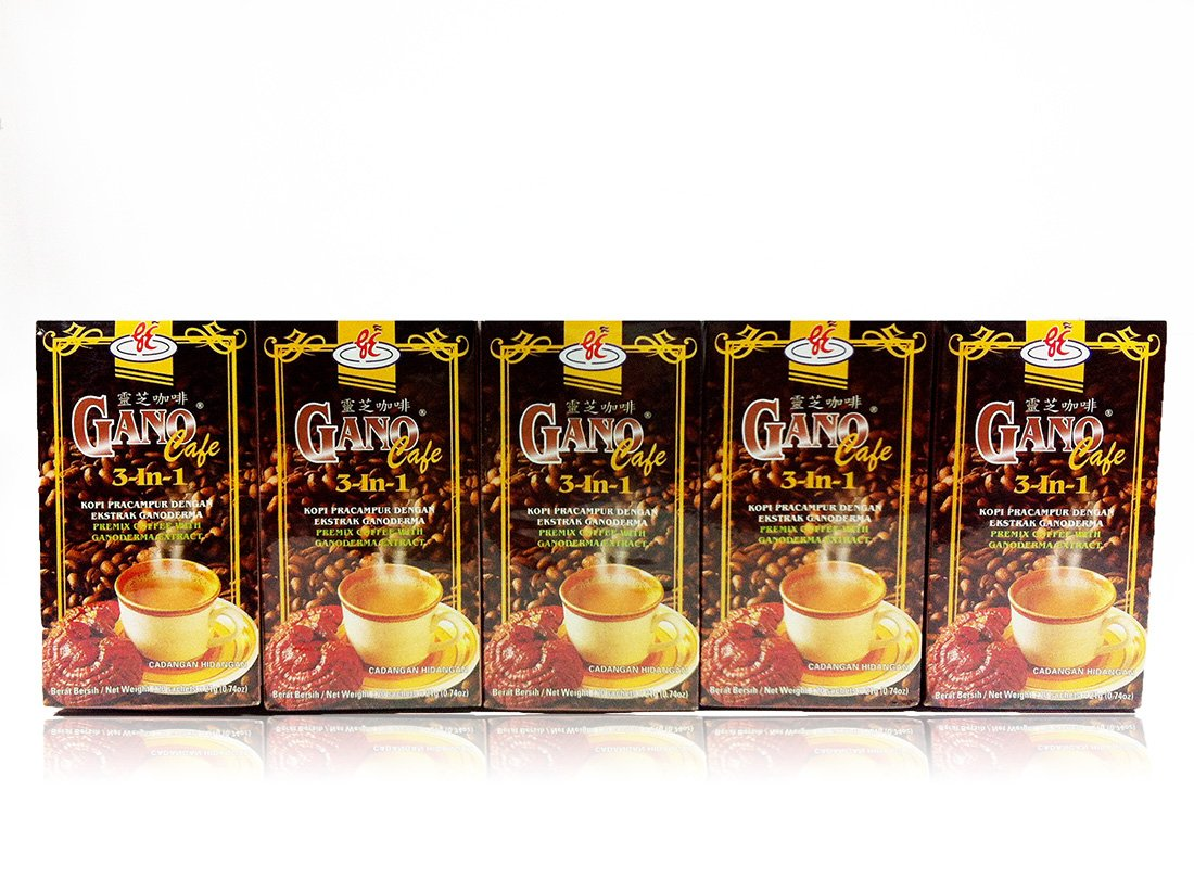5 Boxes Gano Excel 3 IN 1 Ganoderma Coffee (20 Sachets Per Box) by Gano Excel