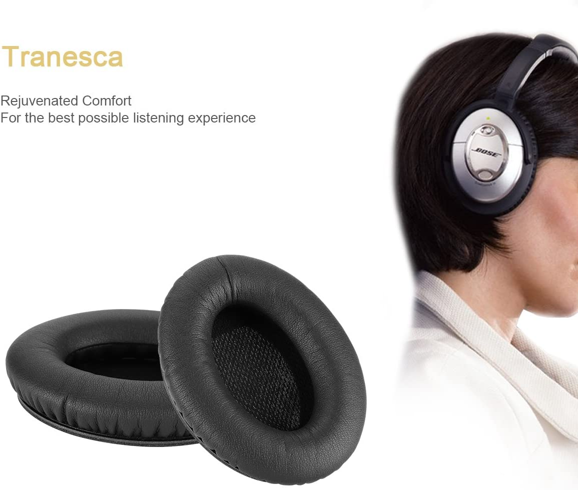 Black Tranesca Replacement Earpad kit for Bose QC15//25//35//AE2//AE2i