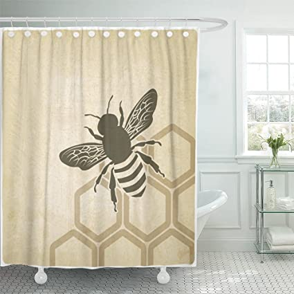 Emvency Shower Curtain With Hook Polyester Fabric Brown Honey Bee Old Honeybee Honeycomb Hive Beehive Pollen