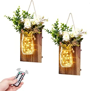 TWING Mason Jar Wall Sconces with LED Fairy Lights Rustic Wall Sconces Mason Jar Lights Handmade Wall Art Hanging Design with Remote Timer,118