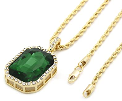 Mens gold tone iced out green octagon ruby pendant with 3mm 24 inch mens gold tone iced out green octagon ruby pendant with 3mm 24quot inch rope chain mozeypictures Choice Image
