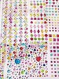 PXS 自粘珠宝贴纸水晶宝石水钻贴纸 1130块各式各样尺寸(多色)工艺 DIY 装饰(10 张)