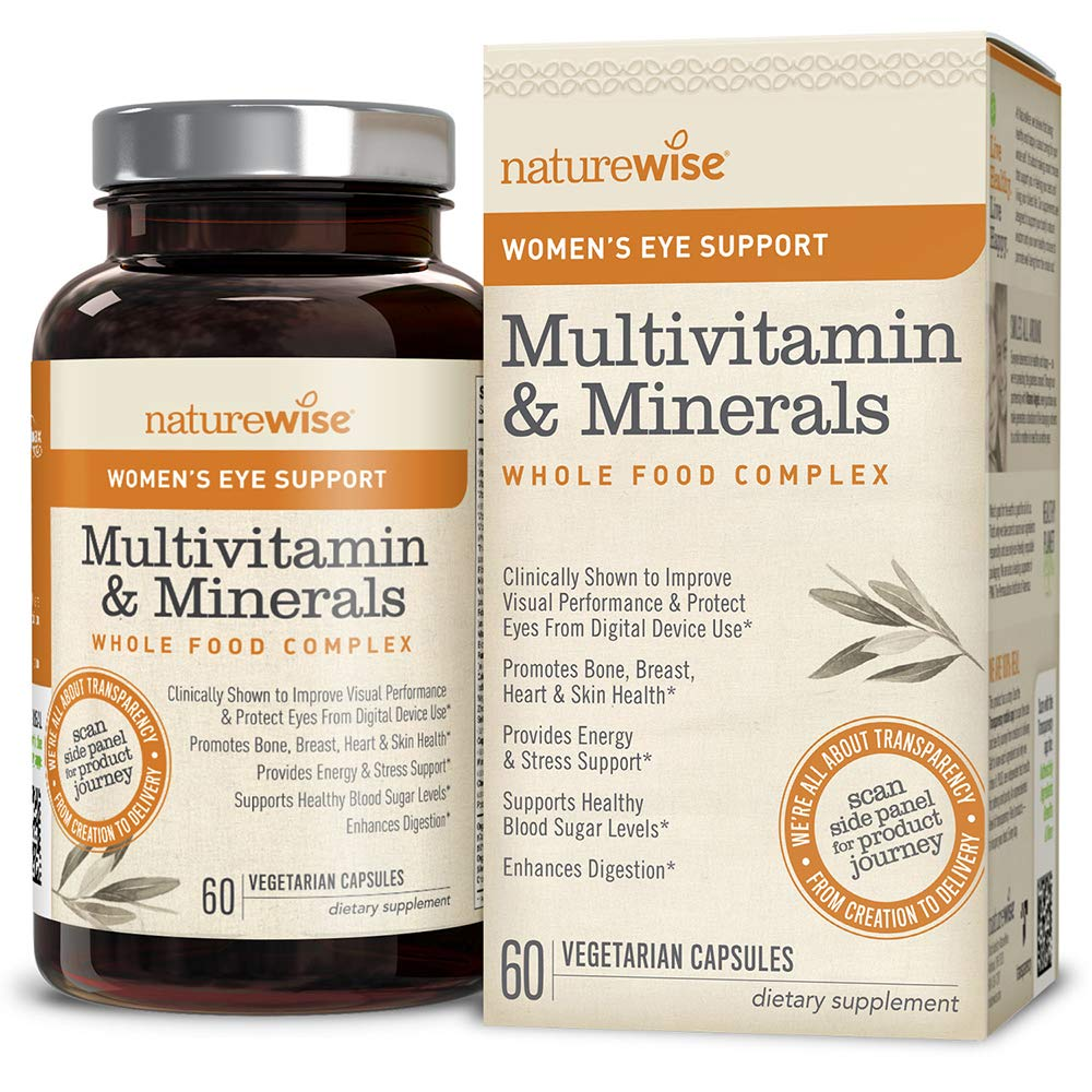Best Womens Multivitamin 2020.Naturewise Women S Multivitamin Whole Food Complex With Eye Support Vitamins Minerals Organic Whole Foods Lutemax 2020 Protects Improves