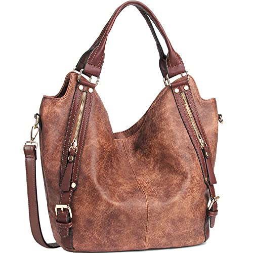 JOYSON Women Handbags Hobo Shoulder Bags Tote PU Leather Handbags Fashion Large Capacity Bags Coffe best stylish purses for fall