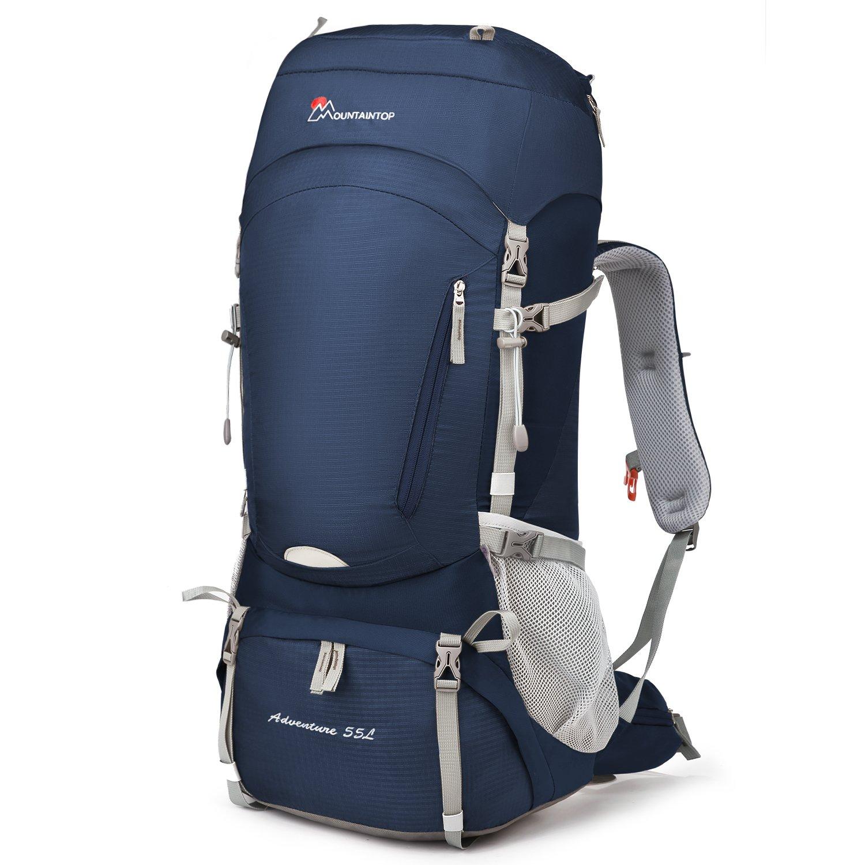 Mountaintop 55L/65L 登山バッグ 大容量 ザック 登山 リュック 防水 ハイキング バックパック キャンプ 防災 旅行用 リュックサック アウトドア バッグ 軽量 レインカバー付き B07CQGDXFP ブルー(55L) ブルー(55L)