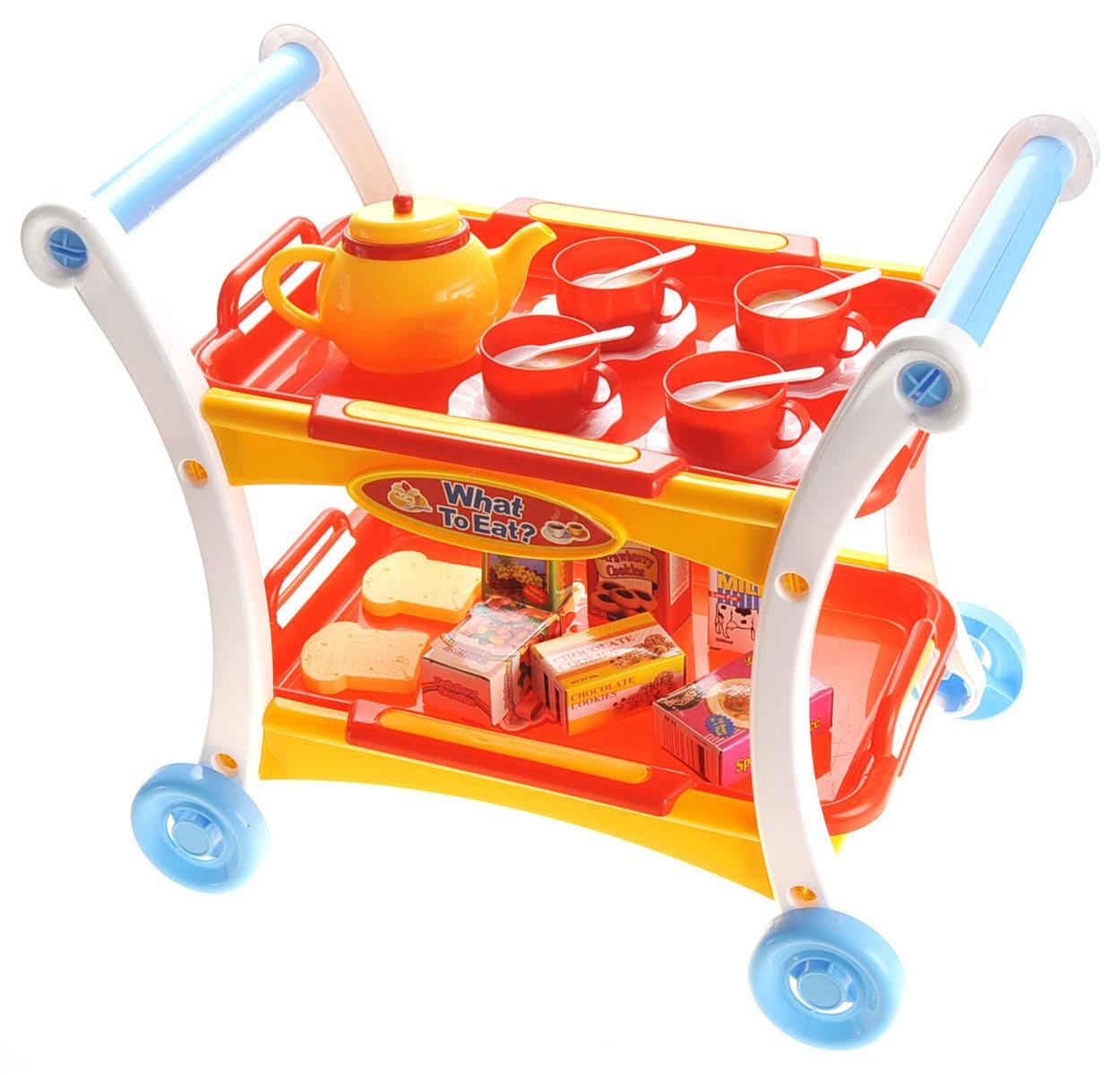 PowerTRC Afternoon Tea Time Trolley Cart Pretend Play Set for Tea Party