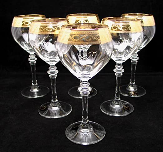 Christmas Tablescape Decor - Handmade Italian 24-Karat gold-rimmed wine glass stemware - Set of 6
