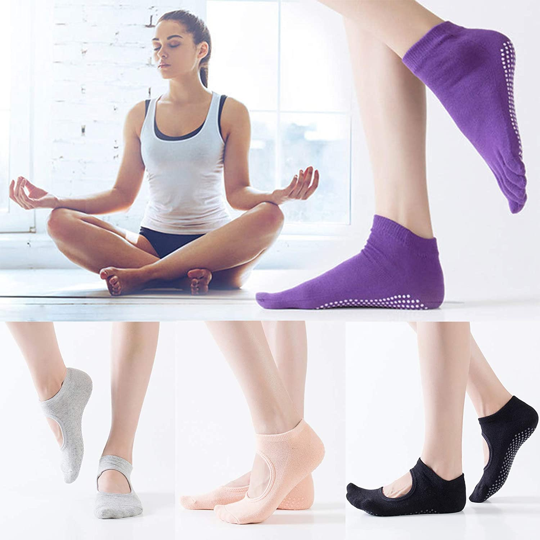 Barefoot Workout Ballet Dance Ideal for Pilates Anck 4 Pairs Yoga Socks for Women Non Slip Socks Slipper Socks Home Hospital Athletic Socks Pure Barre