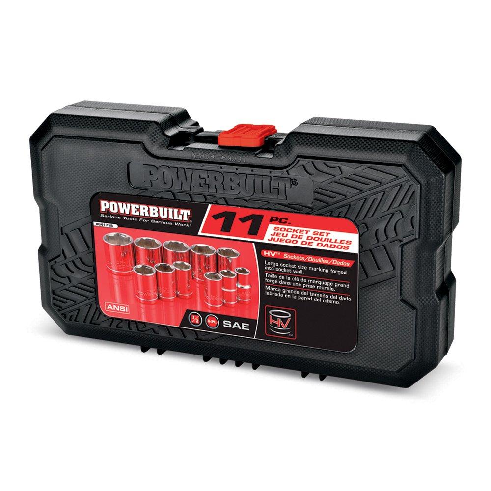 11 Piece Powerbuilt 641718 1//2 Drive 6-Point SAE Socket Set